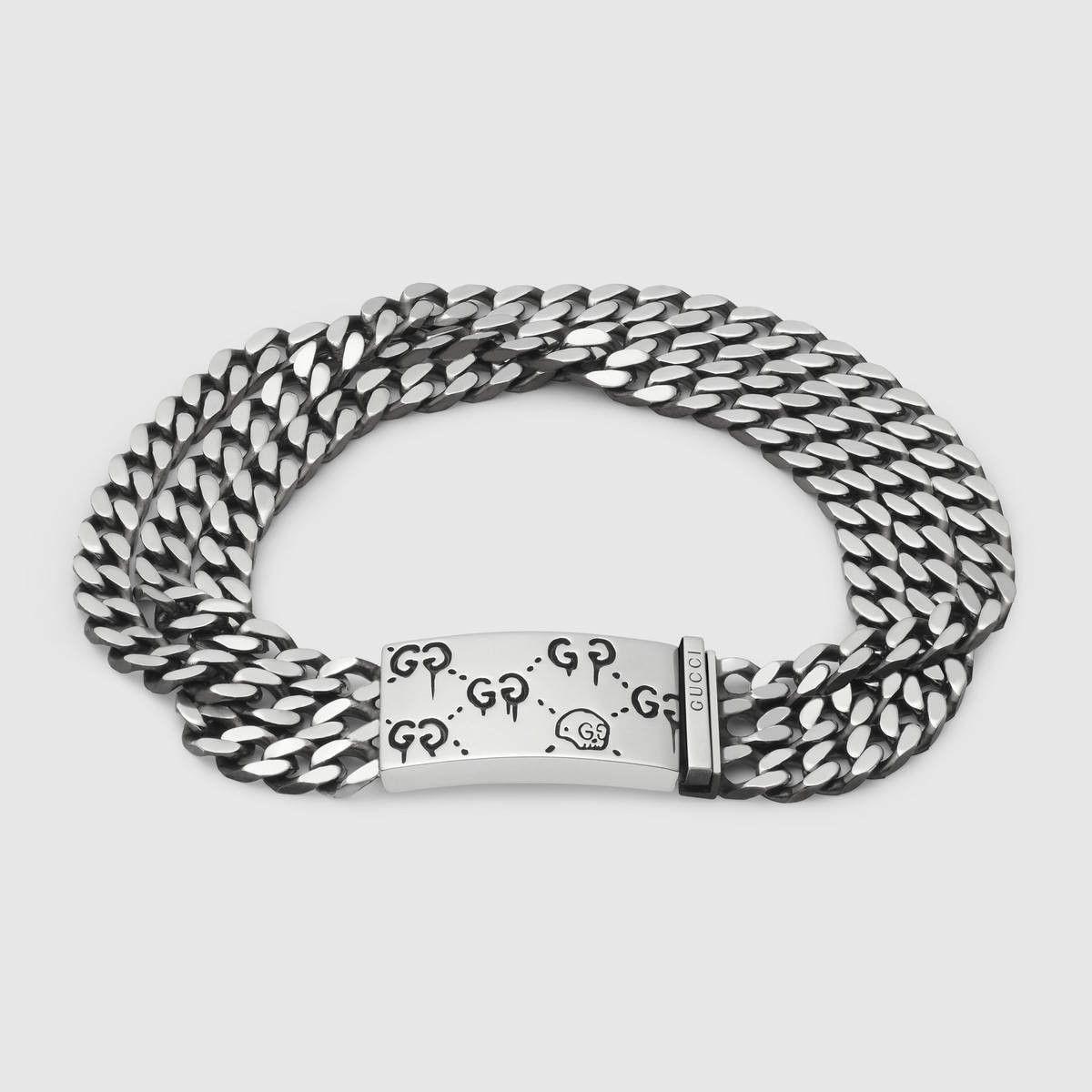 998484f21 GUCCI GucciGhost multi chain bracelet in silver - sterling silver. #gucci #