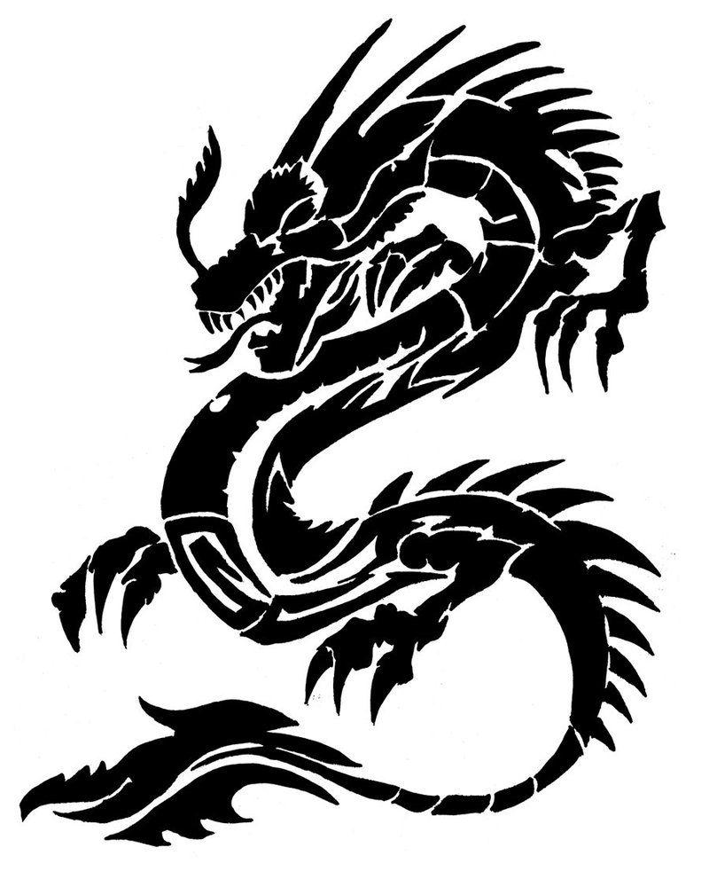 Chinese Dragon Tato Naga Gambar Stensil