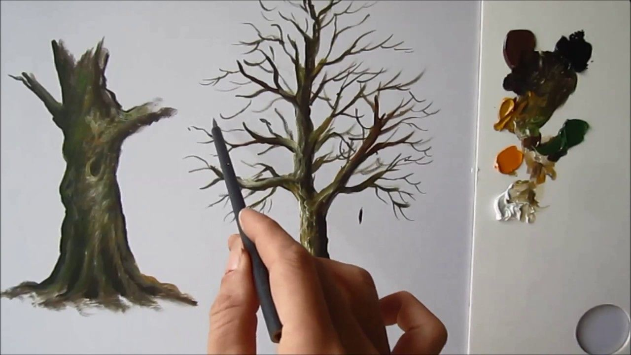 How To Paint A Tree Trunk Lesson 2 Baum Malen Wie Man Blumen