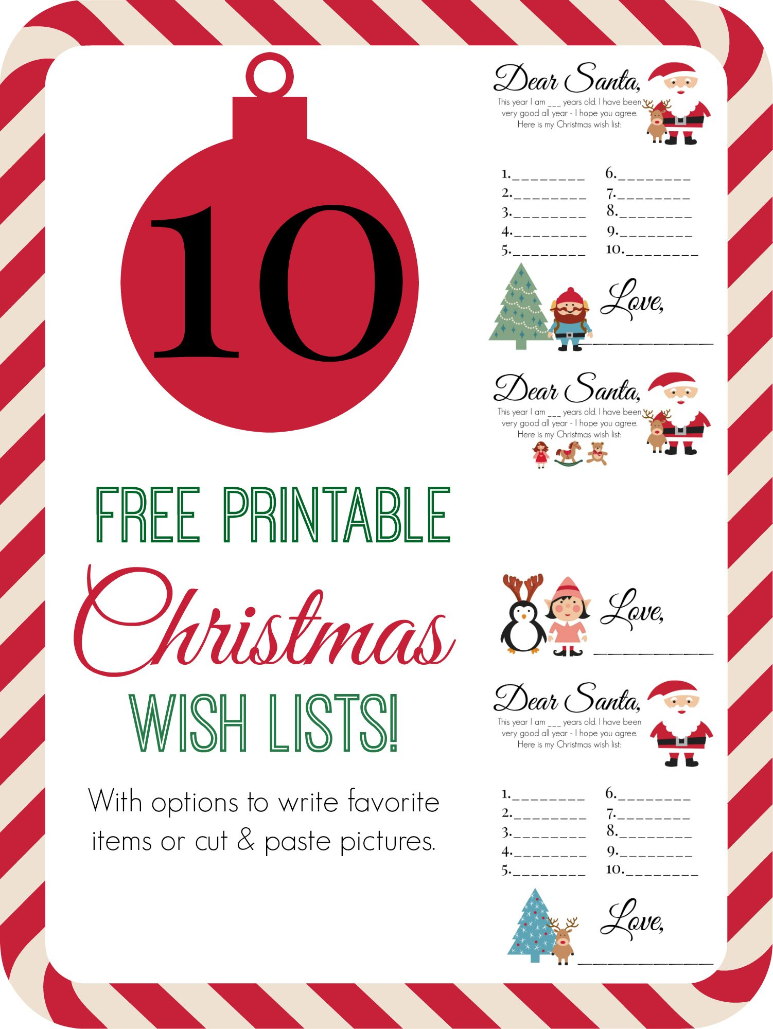 Free Printable Christmas Wish Lists  My Best Pins