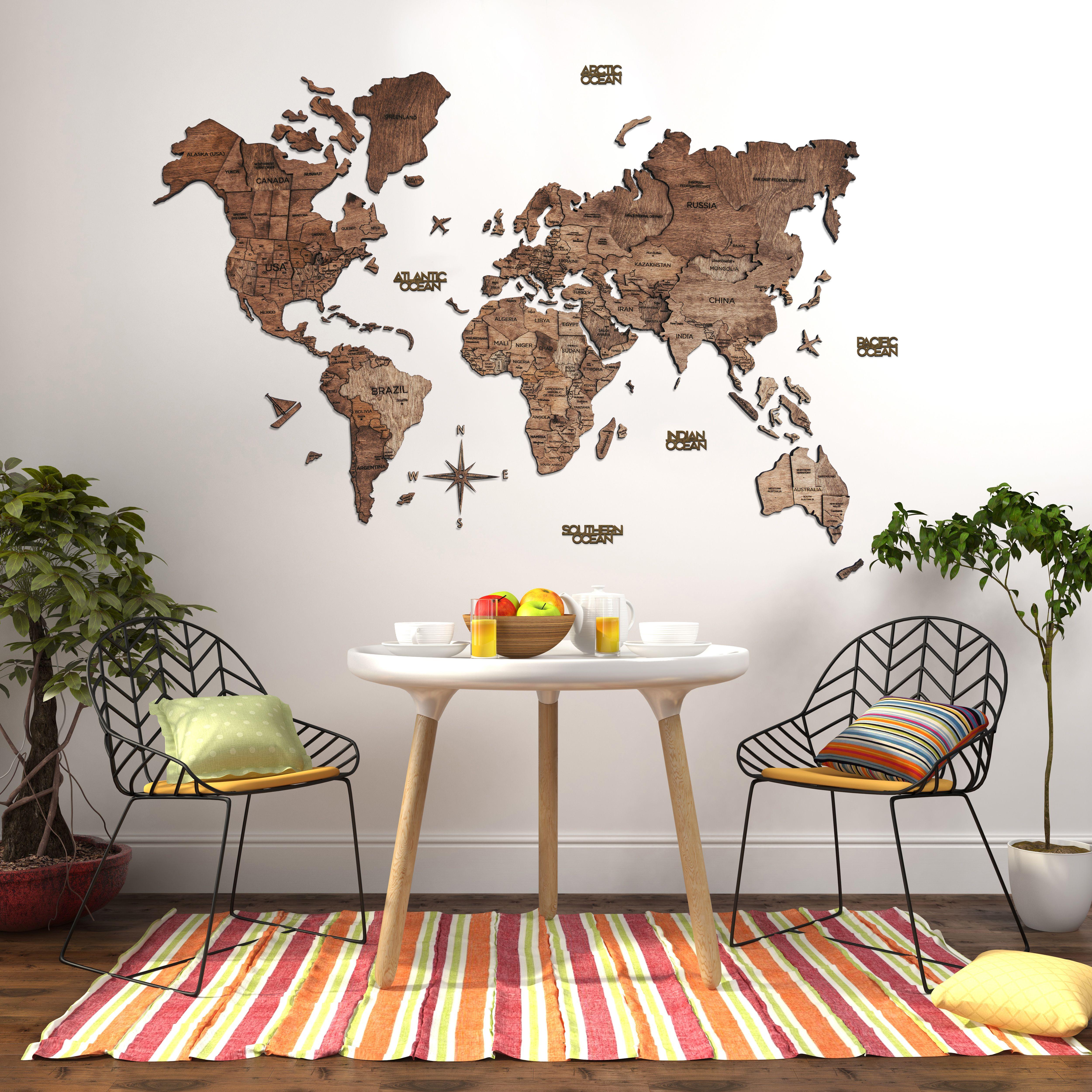 3d weltkarte walnuss in 2021 world map wall decor wood rustic wanddekoration mit kompass rund
