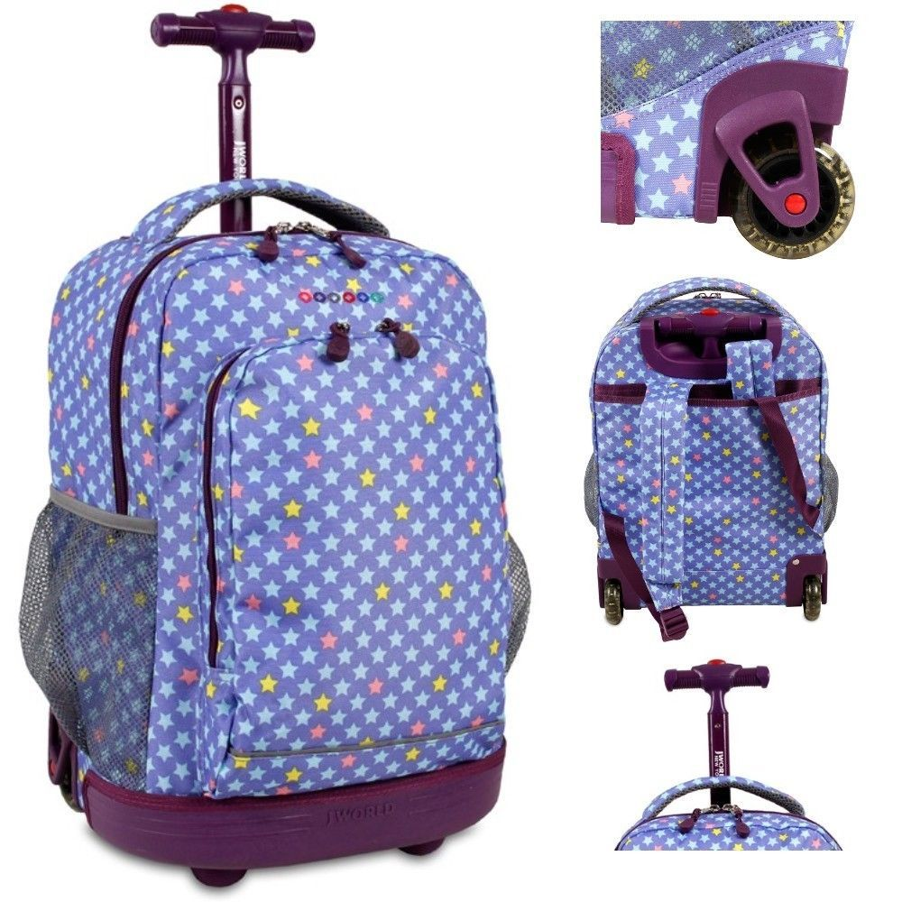 Purple Backpack Girls Rolling Book Bag Middle School Stars College Wheeled Carry DanAnnStore