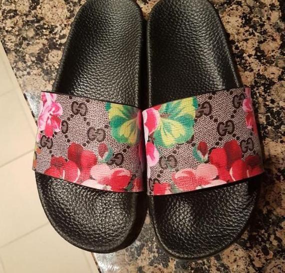 a9448c2c2 Custom Gucci Hand printed red flowers women/men inspired unisex gucci Slides  - Sandals - Flip Flops.