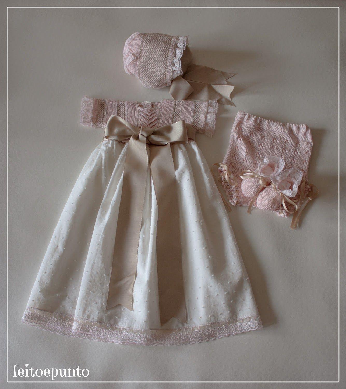 Faldón De Punto Para Verano En Rosa Vestidos Bautizo Bebe Vestidos Bebe Niña Ropa Bebe Niña