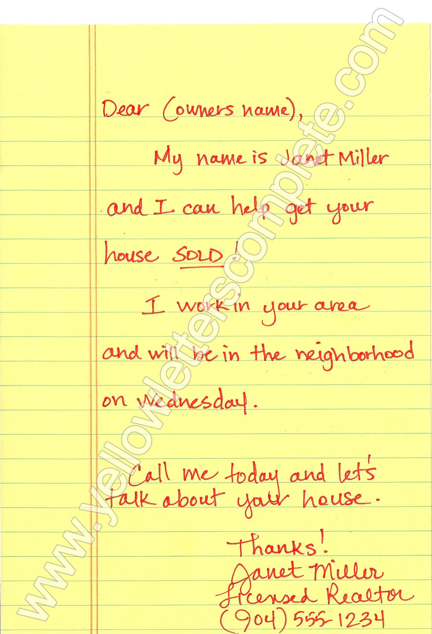 Yellow Letter Templates  Letter Templates Real Estate And Real