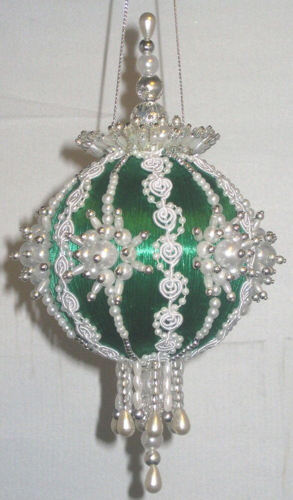 Details About Beaded Christmas Ornament Kit Satin N Lace Beaded