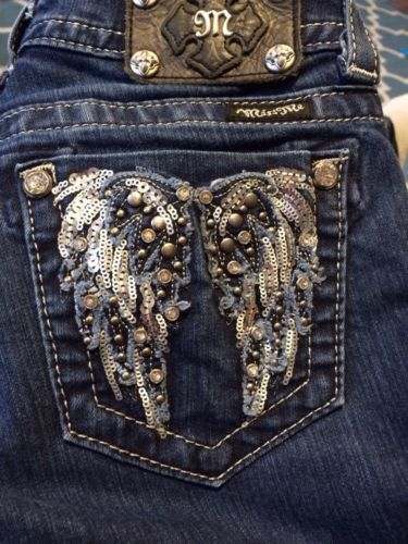 14f5ac74027 Miss Me Skinny Straight Fit Jeans Angel Wing Pocket Bling 25 Juniors ...