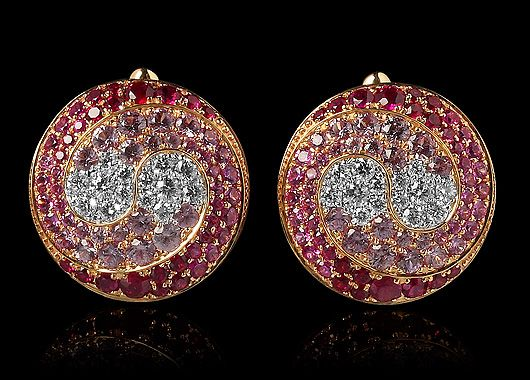 Mousson atelier, collection Caramel - Spiral, earrings, Yellow gold 750, Rubies, Pink sapphires, Diamonds