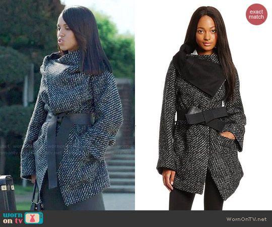 Olivia's black tweed wrap coat on Scandal. Outfit Details: http ...