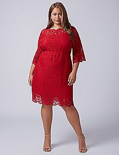 bd2cbee0d7a Scallop-Edge Lace Fit   Flare Dress