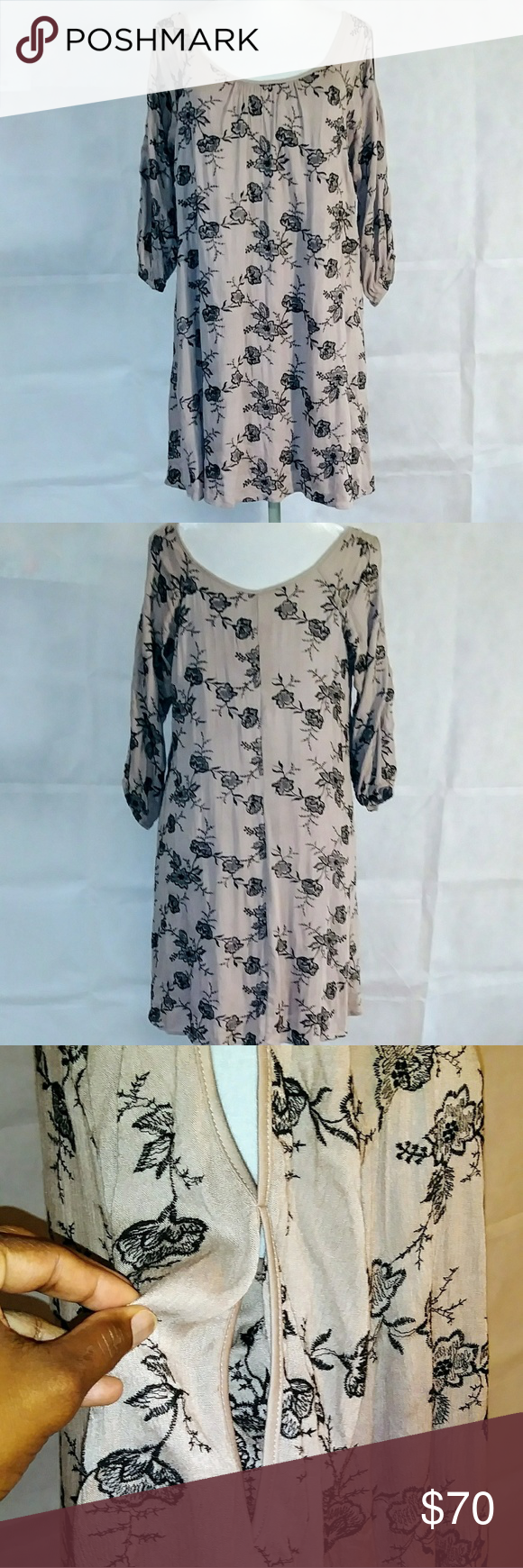 NAIF Mauve Floral Print A Line Dress Beautiful flattering piece Cold shoulder and arm cutouts Elastic 3/4 sleeves Embroidered with black flowers Cool …