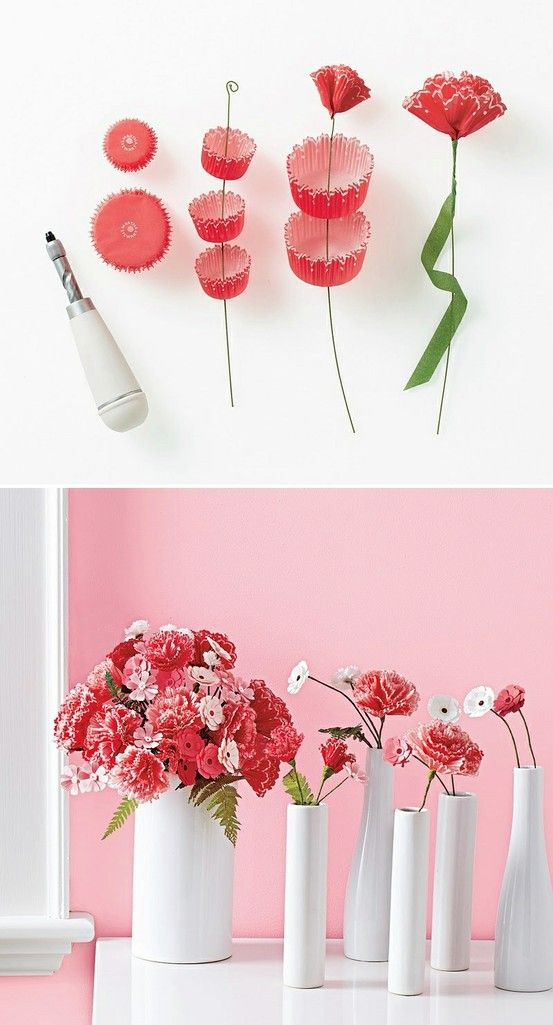 Using cupcake liners to make flowers.