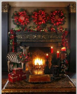 Wreaths Above Fireplace Christmas Christmas Decorations