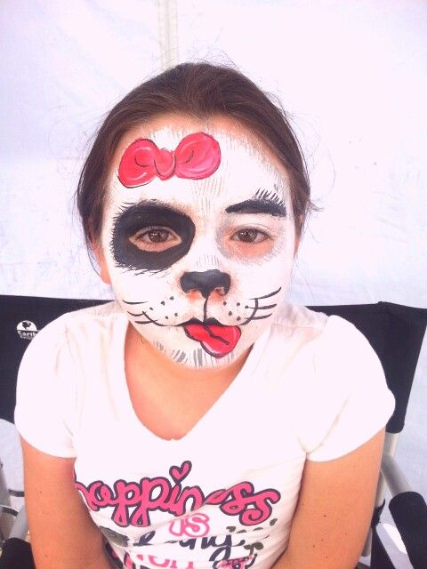 Girl dog / puppy face paint painting by Gennie Goose!