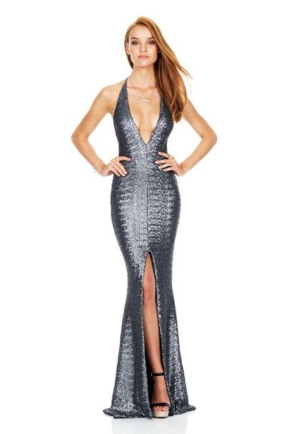 Pewter Dusk Til Dawn Plunge Gown : Buy Designer Dresses Online at ...