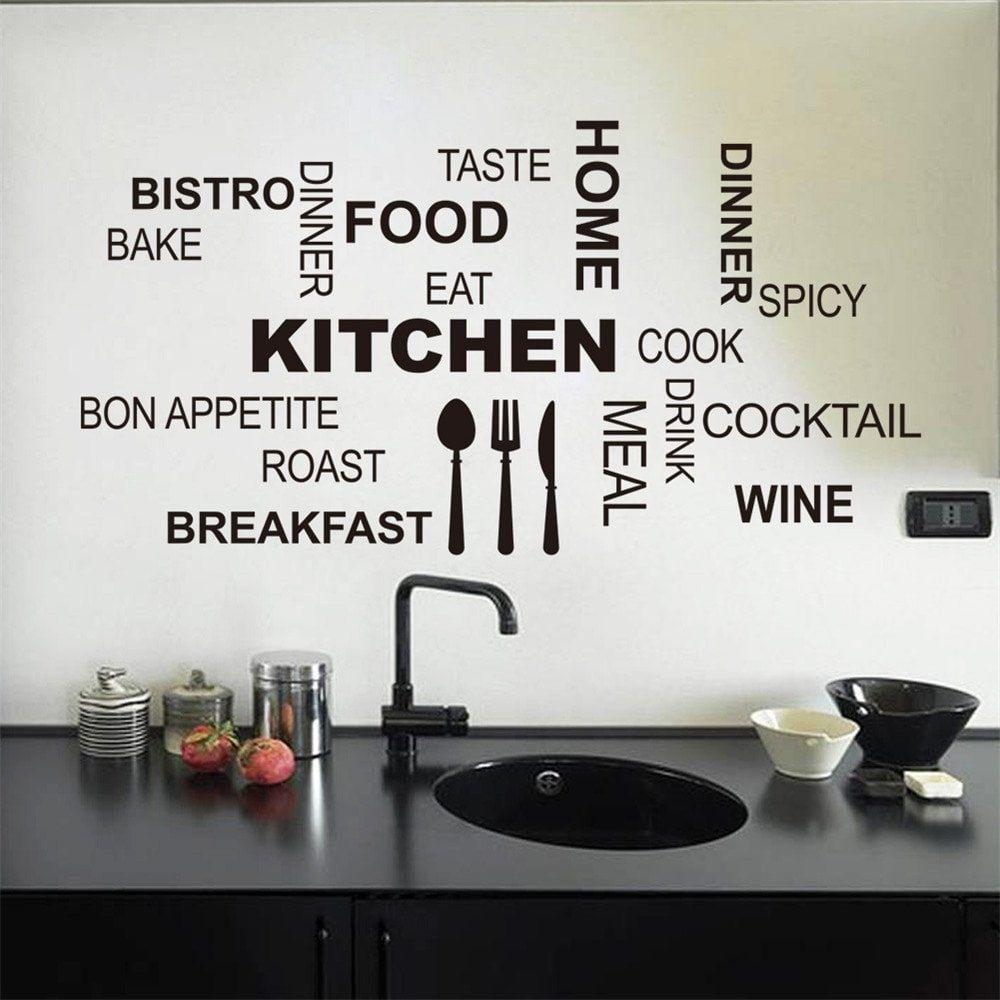 Quote Wall Stickers For Kitchen Decoration Waterproof Removable Decals Decalcomanie Cucina Adesivi Murali Decorazioni Adesive