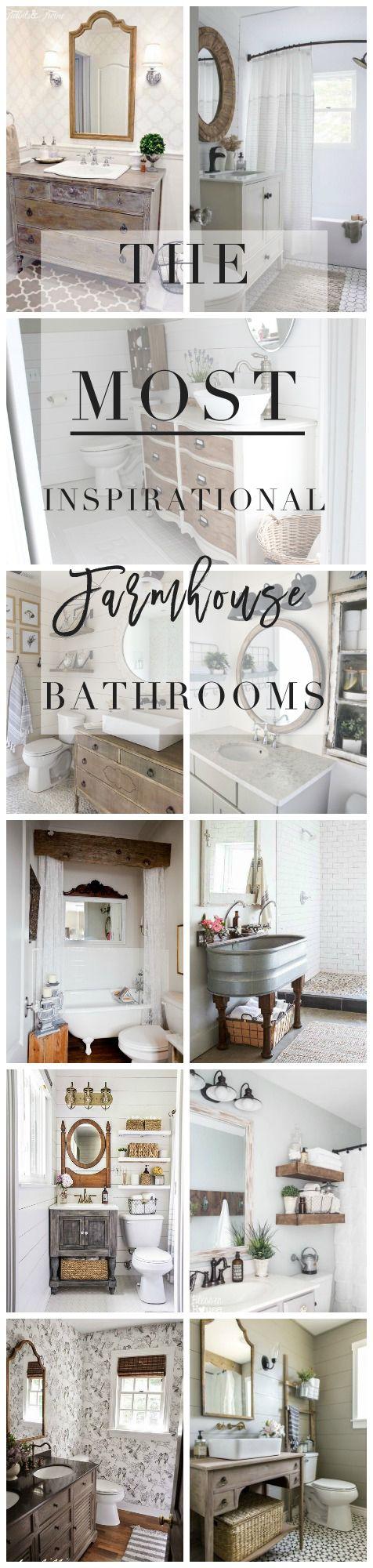The Most Inspirational Farmhouse Bathrooms - Lynzy & Co.