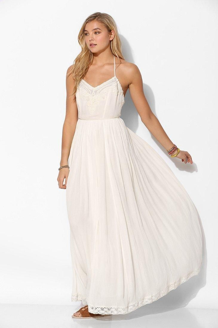 White and blue wedding dress  Kimchi Blue Dove Crinkle Gauze Maxi Dress urbanoutfitters  Things