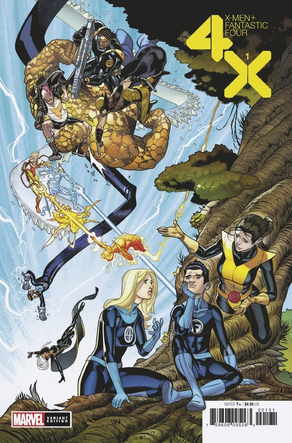 X Men Fantastic Four 1 Variant Cover By Javier Garron In 2020 Fantastic Four Comics X Men