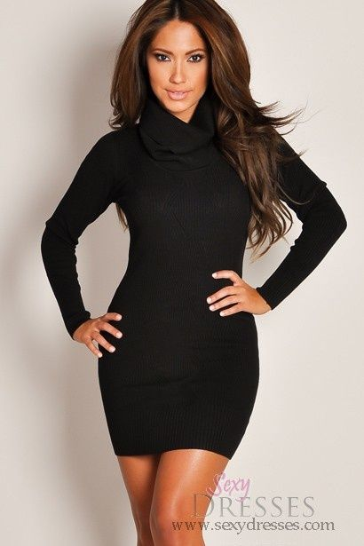 Long knit dress black