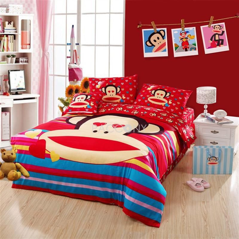 Cartoon Paul Frank In Love Cotton 4 Piece Full Queen Size Age Kids Bedding Sets
