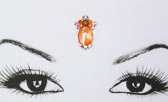 Orange caochon bindi bollywood bindi strass face jewel от Satynka