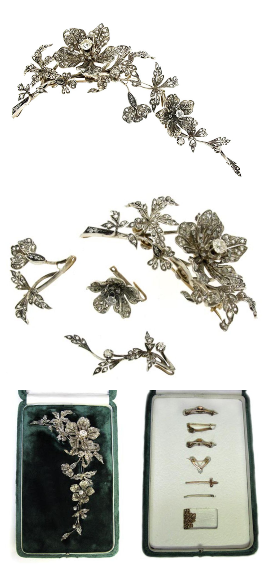 France c1850. Gold & silver floral corsage - asymmetrical spray of 2 open florettes, the larger set with 1 central cushion shaped old cut diamond, the smaller set with 1 round old cut diamond, the leaves & buds set with 258 round rose cut diamonds, all in silver topped gold. Detaches into 4 sections with original removable brooch fittings, in a fitted green velvet box with concealed compartment for additional fittings. Images by Berganza.  #AntiqueCorsageOrnament #VonGiesbrechtJewels