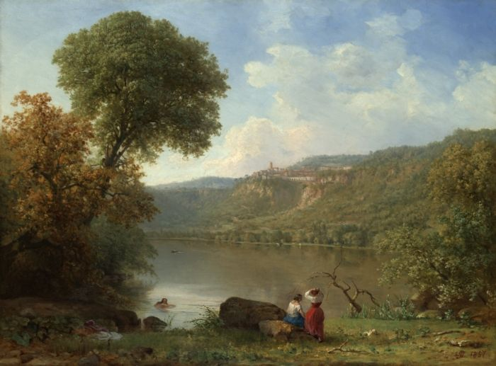 """Lake Nemi,"" oil on canvas, by the American artist George Inness 1857"