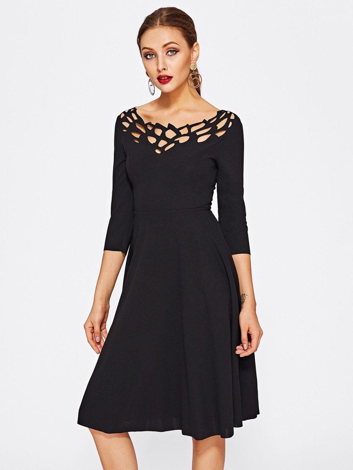 3013a80a1fb4 Laser Cut Neck Fit   Flare Dress