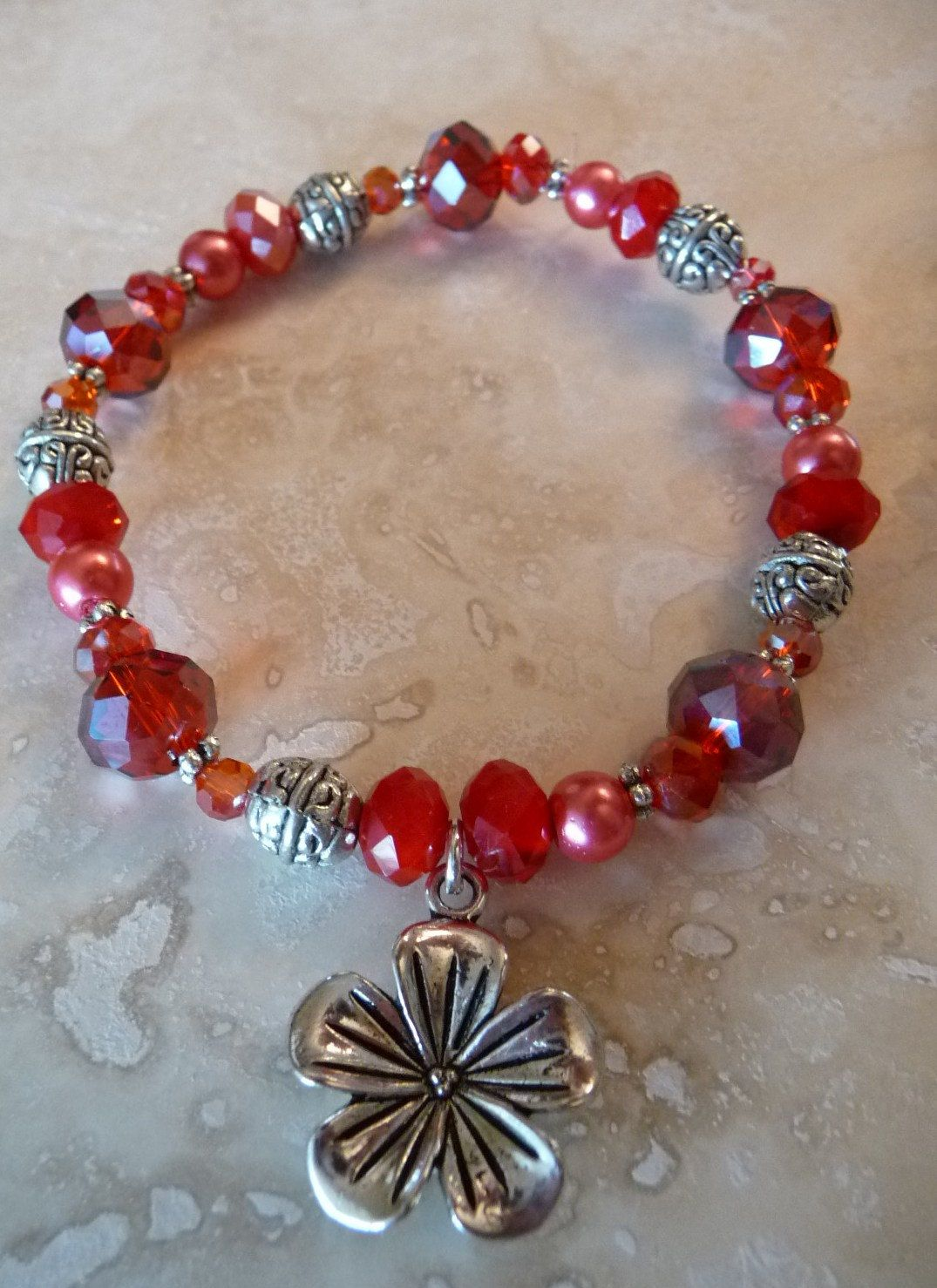 Red Crystal Stretch Bead Bracelet. $8.00, via Etsy.