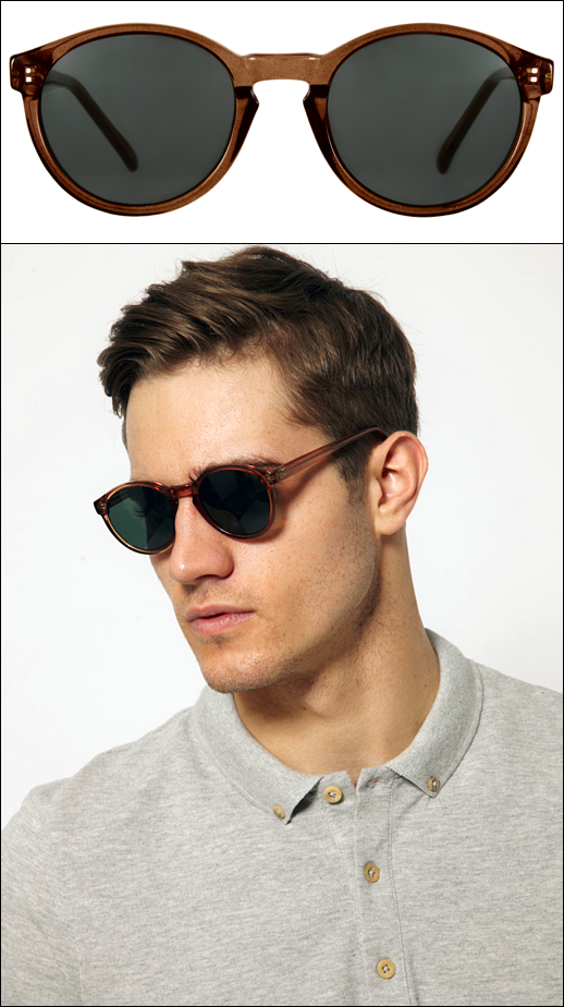 GARCON MENS STYLE FASHION ROUND RIVER ISLAND AVIATOR SUNGLASSES BROWN TAN  TINTED ASOS 6a596d02e87d