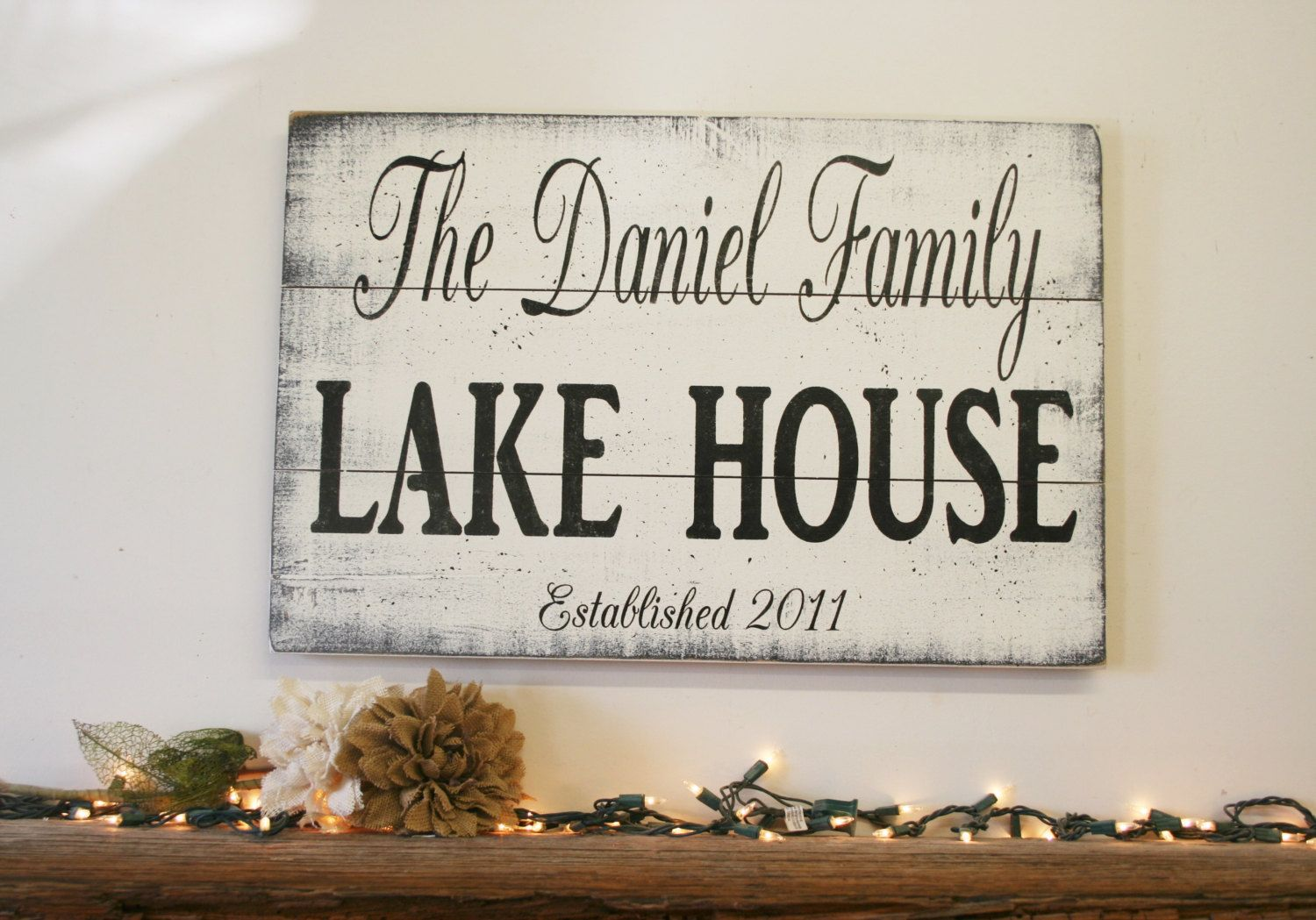 Lake House Sign Pallet Sign Name Sign Personalized Sign Custom Sign Beach House Sign Welcome Sign Distressed Wood Lake Decor Lake House Signs Beach House Signs Diy House Signs