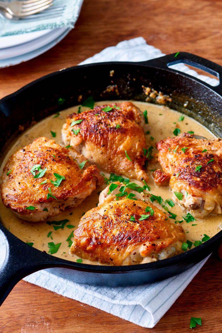 Make This French Chicken Casserole For Dinner This Week Creamy Mustard Sauce Chicken Thights Recipes Mustard Chicken Recipes