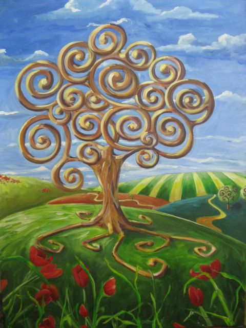 Tree Of Life Original Acrylic Painting On Canvas 30 X 40