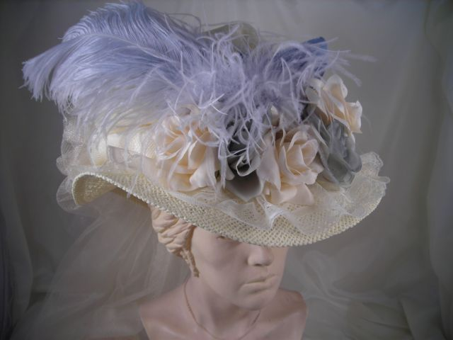 4ac3d446b5b Elsie Massey Store - 2505 Ladies Ivory Victorian Touring Hat with Ivory Lace    French Blue Crown