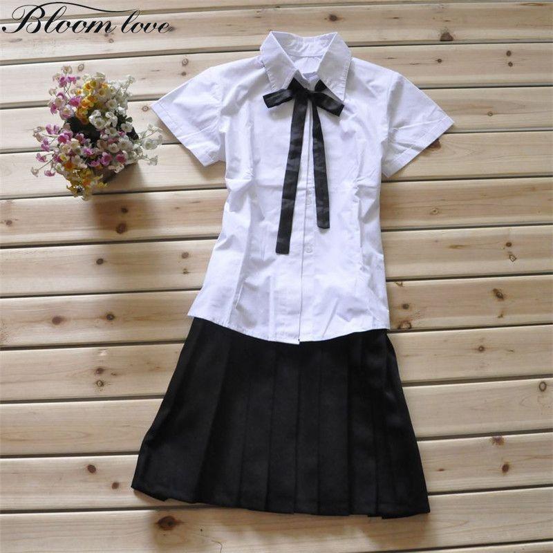 2017 White Shirt+Black Plaid Skirt Japanese School Uniform Sailor Cosplay Short Sleeved School Uniform Blouse Skirt C36