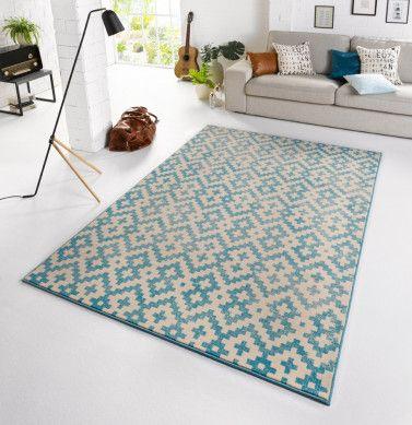 Zala Living Design Teppich Capri Vintage Blau Mit Bildern Kurzflor Teppiche Teppich Teppich Online Kaufen