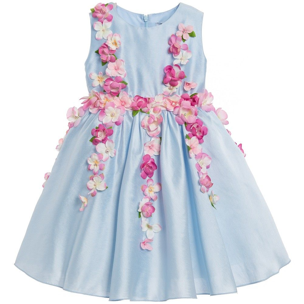 Blue Cotton Sateen Dress With Pink Flowers Hydrangea Flower