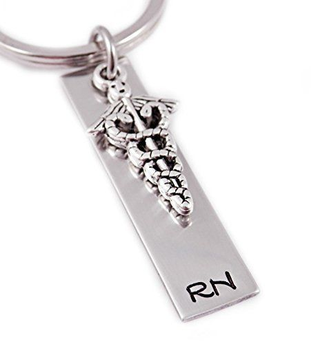 RN Nurse Keychain - Hand Stamped Key Chain >>> Check out the image by visiting the link.