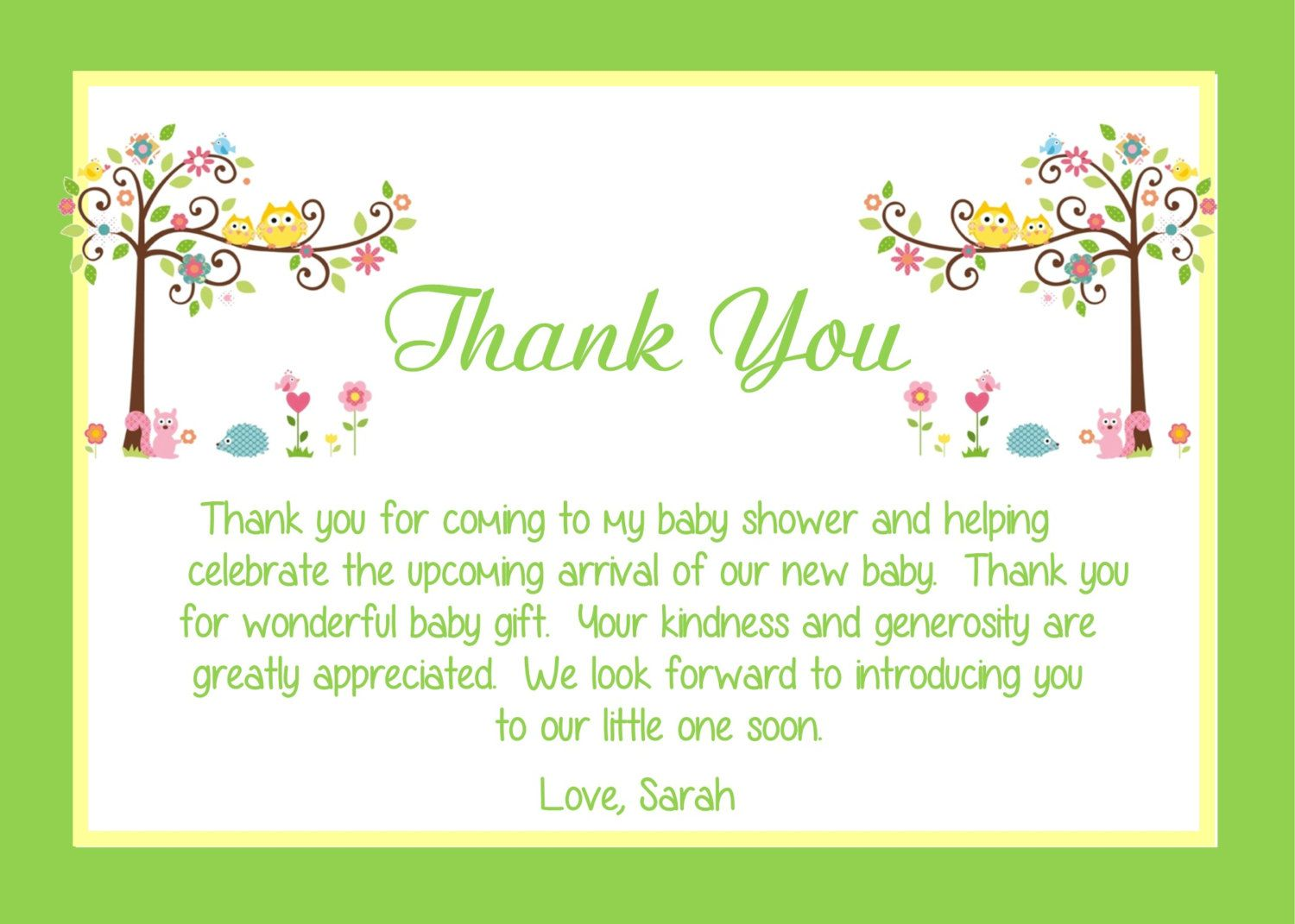 Baby Shower Thank You Notes Examples
