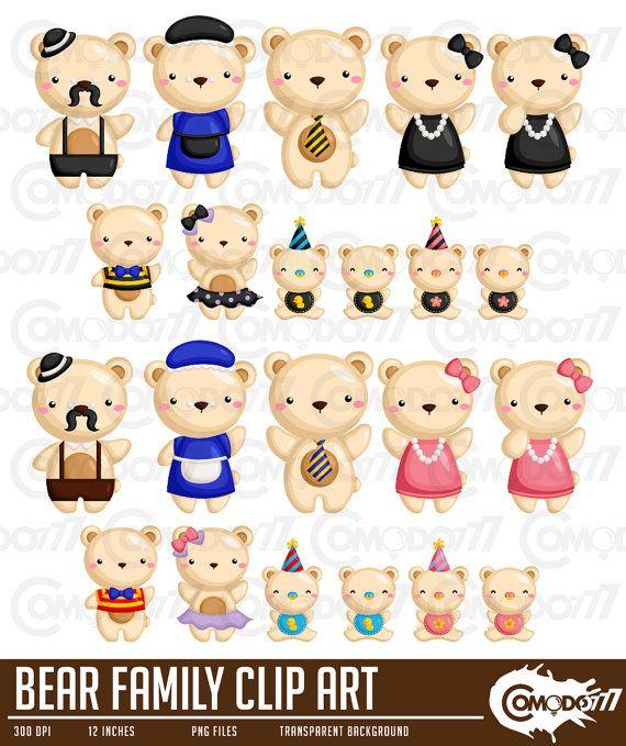 Family Of Bears Clipart Cute Bear Clip Art Cute Animal Etsy Cute Animal Clipart Clip Art Animal Clipart Free