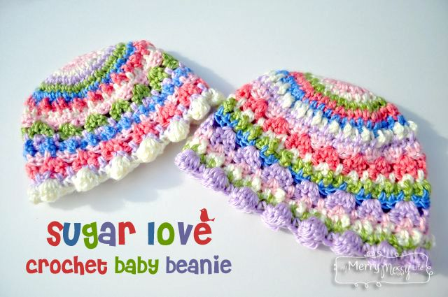 Sugar Love Crochet Baby Girl Beanie – Free Patterns ༺✿ƬⱤღ✿༻