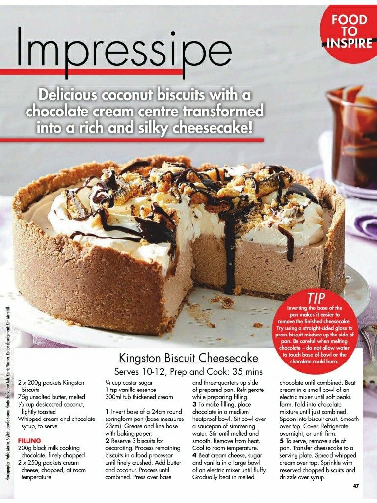 Kingston Biscuit Cheesecake From New Idea Magazine Australia October 2020 Dessert Recipes Kingston Biscuits Cheesecake
