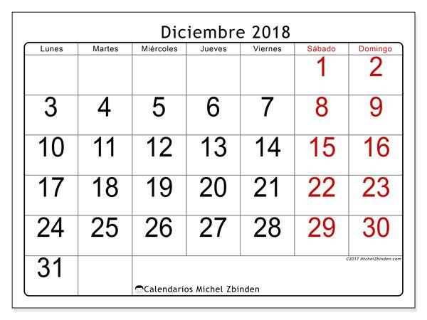 Calendario diciembre 2018 (62LD)   Diciembre, Calendario para ...