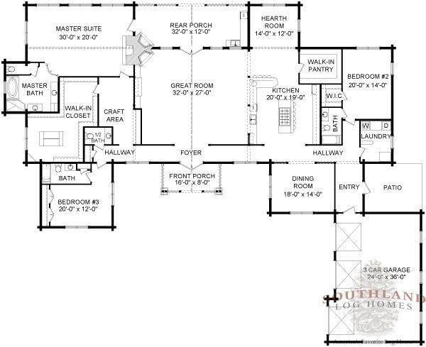 Big Sky Log Cabin Floor Plan Southland Log Homes Log Cabin Floor Plans Cabin Floor Plans Log Home Plans