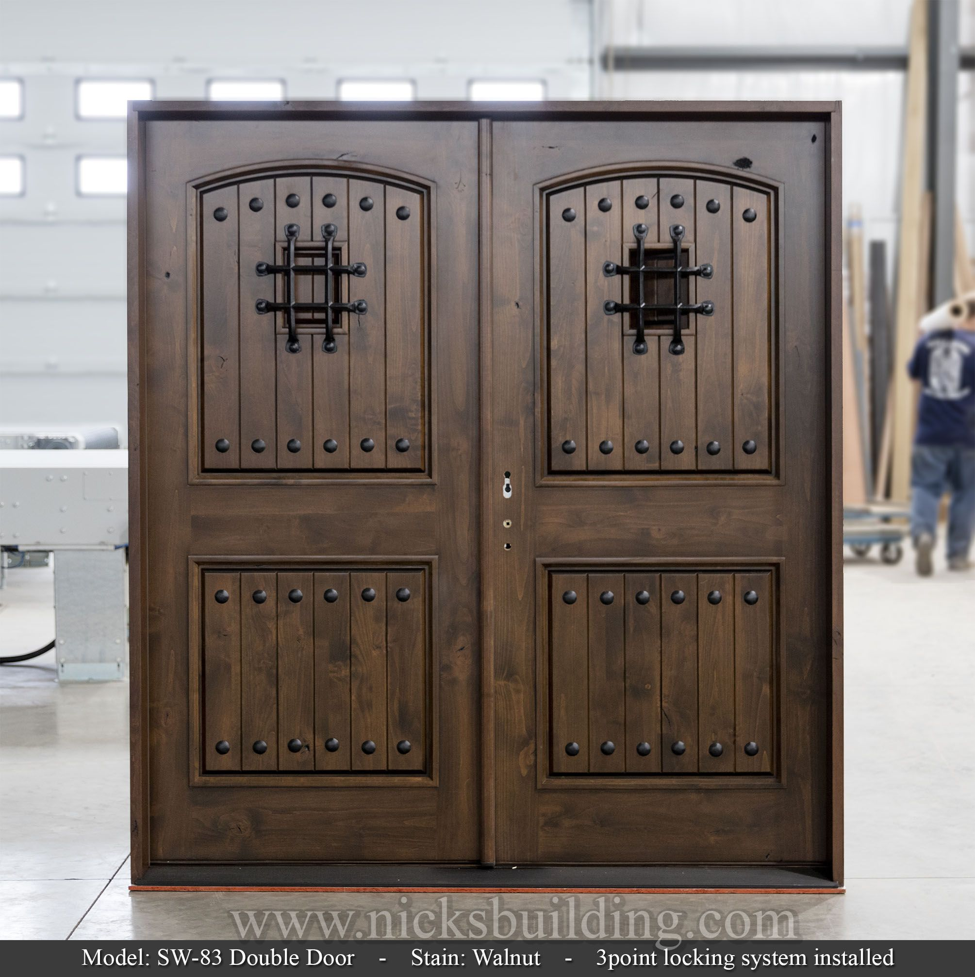 Rustic double door. Built to order. Knotty Alder wood