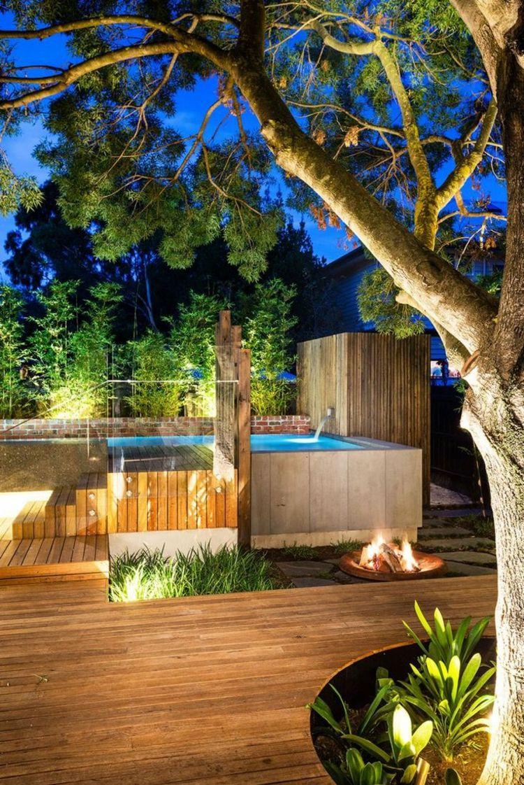 Gartengestaltung Beleuchtung Garten Indirekt Feuerstelle Holz Boden Landschaftsdesign Gartengestaltung Hinterhof Designs