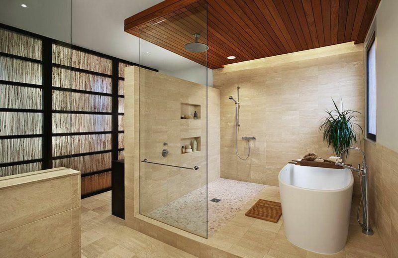Image salle de bain -lu0027ambiance naturelle su0027invite dans la salle - carrelage en pierre naturelle salle de bain