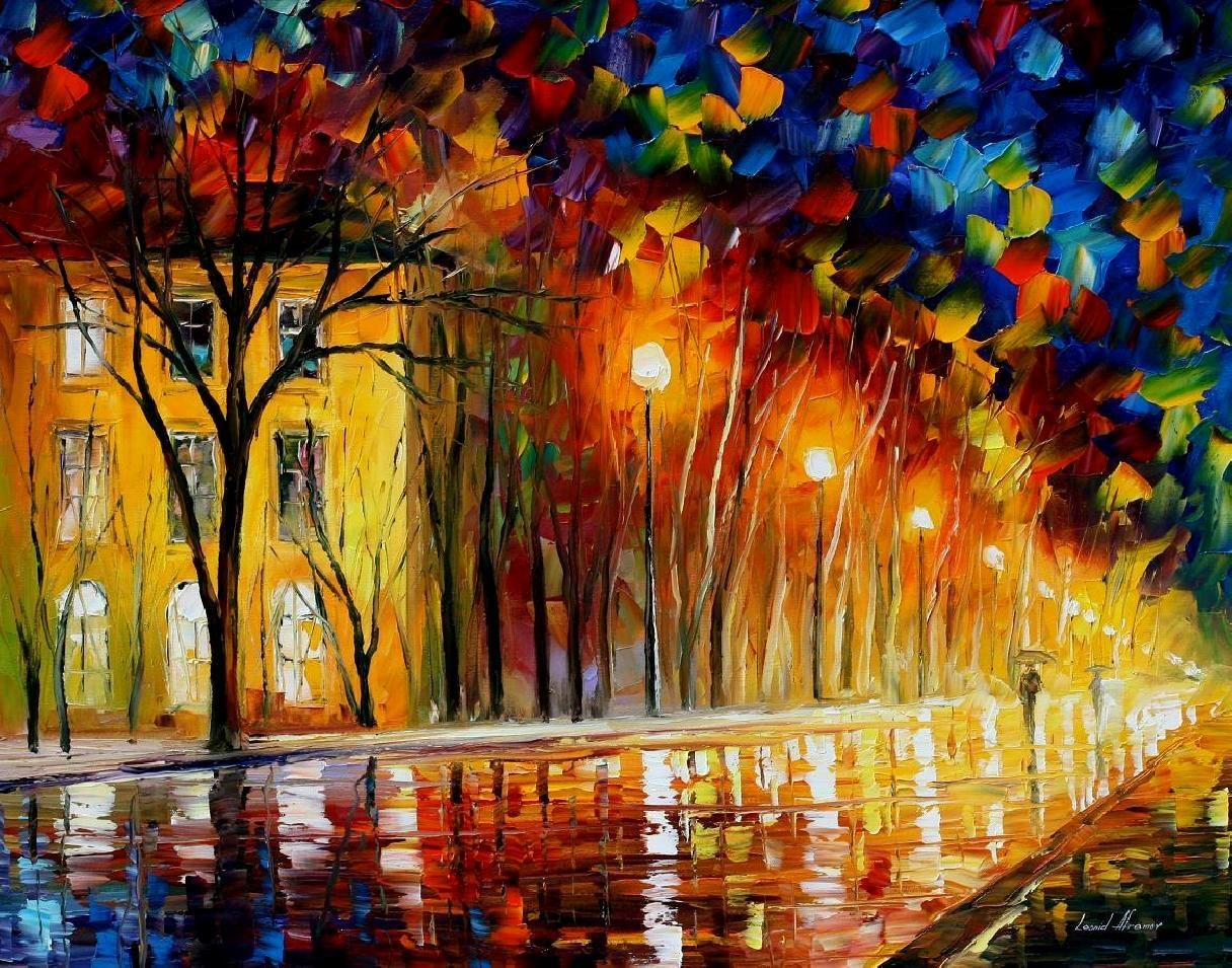 inner warmth - palette knife oil painting on canvasleonid
