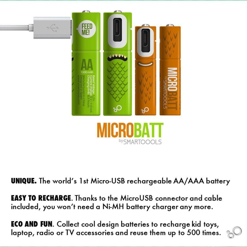 Smartoools Micro Usb Rechargeable Aa Aaa Battery Nimh With Cables Aa 2 Pack Micro Usb Usb Rechargeable Nimh